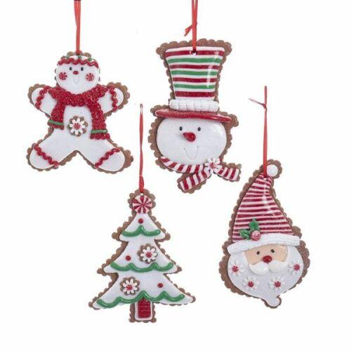 "Cookie Ornament Set 4 Santa Snowman Tree 4"" Clay-dough Christmas Kurt Adler"