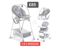 BRAND NEW IN BOX HAUCK SIT N REALX 3 IN 1 HIGHCHAIR IN STRETCH GREY FROM BIRTH TO 3