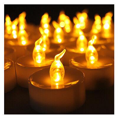 24 LED Amber Yellow Battery Tea Light ...