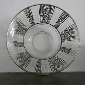 Etched Art glass silver patterned deco fruit bowl