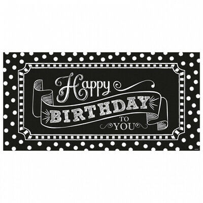 CHALKBOARD HAPPY BIRTHDAY BANNER BLACK AND WHITE HANGING PARTY DECORATION - Black And White Happy Birthday Banner