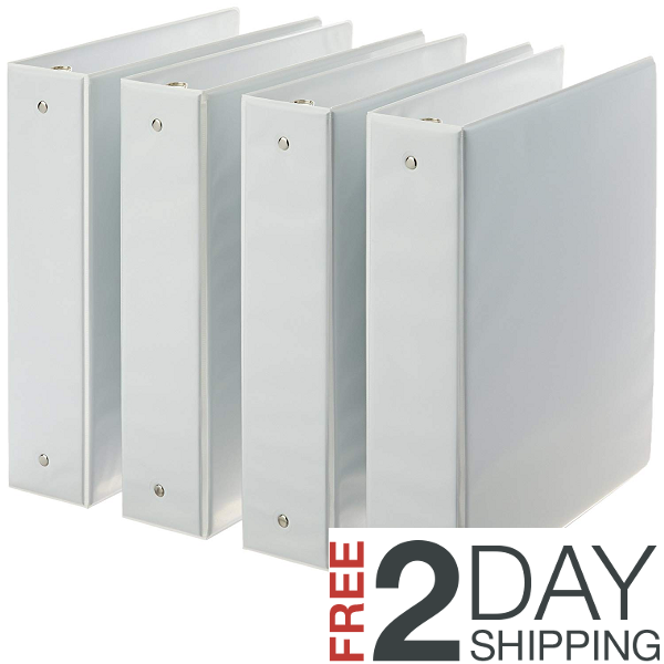 AmazonBasics 3-Ring Binder, 2 Inch - 4-Pack White