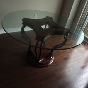 Glass Table With Wooden Base with Chairs (4)