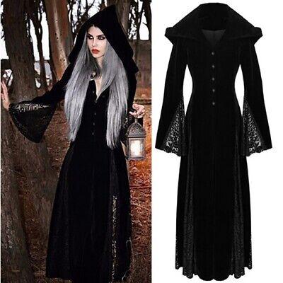 Halloween Medieval Maiden Cosplay Dress Womens Vintage Costume Hooded Dresses