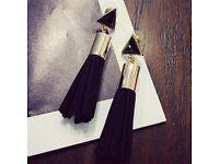 Pair of Faux Crystal Tassel Triangle Drop Earrings