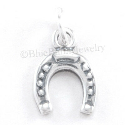 Tiny HORSESHOE Lucky Horse Charm Pendant 925 STERLING SILVER Very Small - Mini Horse Charm