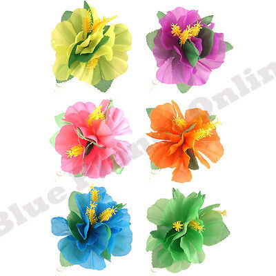 BULK BUY 3X HAWAIIAN FLOWER HAIRCLIP SUMMER HULA HAIR CLIP FANCY DRESS COSTUME - Buy Fancy Dress Costumes