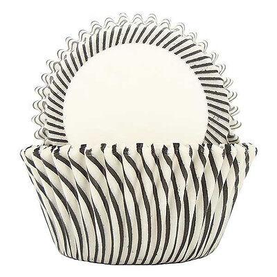 STRIPED BLACK - CUPCAKE LINERS - 50 Ct. -  Standard - Black Cupcake Liners