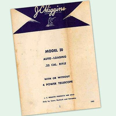 Auto Parts Manual (JC HIGGINS MODEL 30 OWNERS PARTS GUN MANUAL INSTRUCTION .22 AUTO RIFLE)