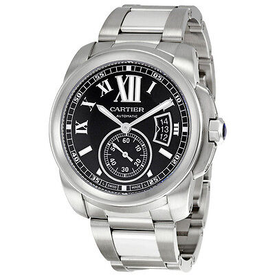Cartier Calibre de Cartier Black Dial Stainless Steel Mens Watch W7100016