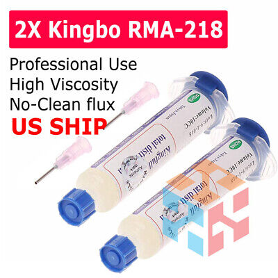Flux Kingbo Rma-218 Soldering Syringe 2 Pack Plungerneedle Fast Shipping Usa