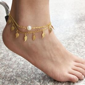Cute Faux Pearl Leaf Anklet For Women
