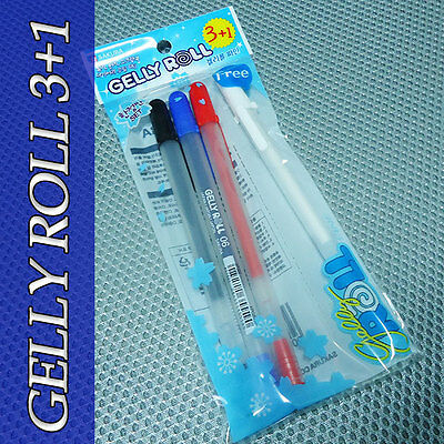 SAKURA Gelly Roll Fine Point Gel Ink Pen 0.6mm 3+1 COLORS Included WHITE