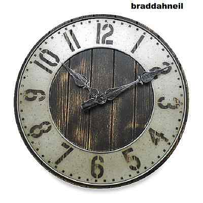 Industrial Large Loft Rustic Wall Clock Urban Punched Metal Wood Shop Garage N