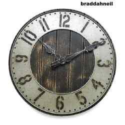 Industrial Large Loft Rustic Wall Clock Urban Punched Metal Wood Shop Garage