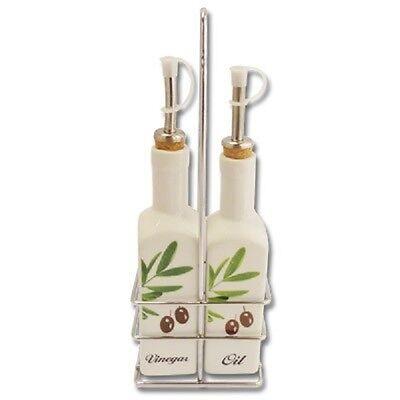Öl Essig Ölspender Essigspender Oil & Vinegar Set aus Keramik Oliven Olivenöl