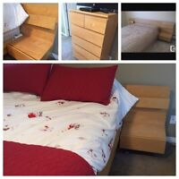 IKEA Malm bed frame, dresser and two end tables
