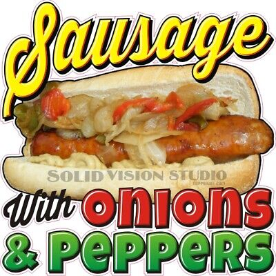Sausage W Onions Peppers Concession Hot Dog Cart Food Truck Weatherproof Decal