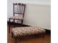Small chair and matching footstool