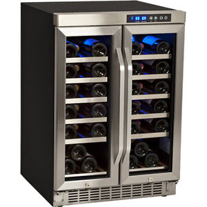 Undercounter French Door Wine Cooler Refrigerator Dual