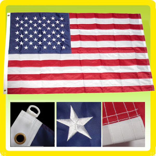 5x8 USA AMERICAN Flag Us Deluxe Nylon Embroidered Stars Sewn Stripes