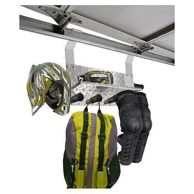 (Cronus Add-a-Hook Garage Utility Hook/Shelf Storage System hangs from door track)