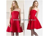 Armani Pieced Silk Red Dress Size42EUR RRP £1,200