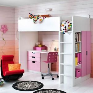 Ikea STUVA/FRITID Loft bed with 4 drawers/2 doors, white, pink