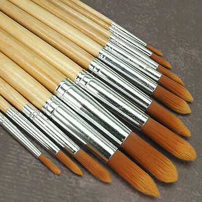 12 teiliges Acryl Öl Pinselset Pinsel Profi-Qualität Künstler rund lang + gross