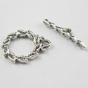 20Sets Tibetan Silver Tone Round Leaf Connectors Toggle Clasps Jewelry Craft DIY
