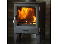 BRAND NEW & STILL IN BOX - 5kW BLACK STEEL STOVE BURNER WOOD LOG BURNING FIRE FIREPLACE STOVES