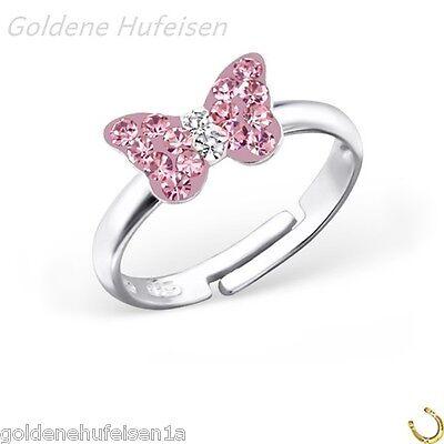 Rosa Kristall Schmetterling Ring 925 Echt Silber Kinder Geschenkidee Z-36