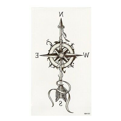 Tatuaggi Temporanei Bussola Frecce Caldo Grande Fiore Henné Stile Impermeabile