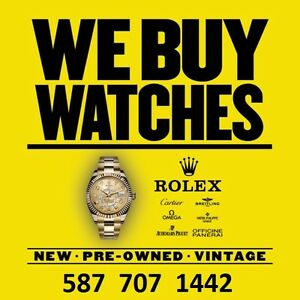 CALGARY WATCH BUYER • WE BUY ROLEX CARTIER ETC ►587-707-1442◄