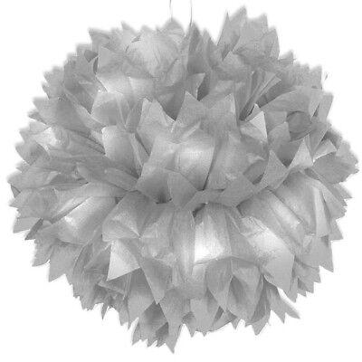 Pom Pom Deko in Silber, Durchm. 30cm, Raumdekoration, Silberne Hochzeit, ()
