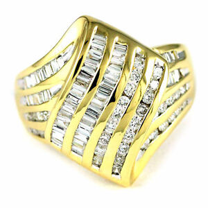 14k Yellow Gold Round/Baguette Diamond Ring (82 Dia, 1.22) 2758