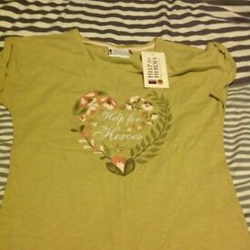 Lovely green short sleeve Help for Heroes floral heart tshirt size 10 brand new with tags