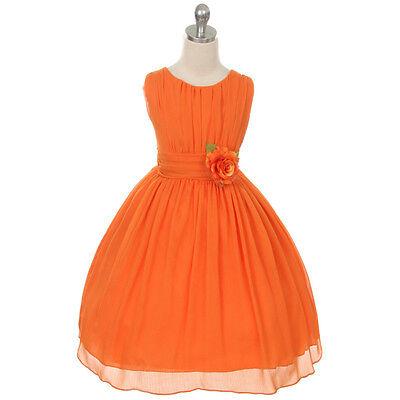 ORANGE Flower Girl Dress Birthday Recital Formal Dance Wedding Party Bridesmaid - Flower Girl Dresses Orange