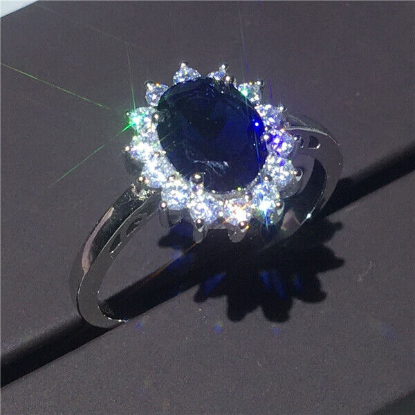 Gorgeous Blue Sapphire Jewelry Ring Women 925 Silver Engagement Rings Size 6-10