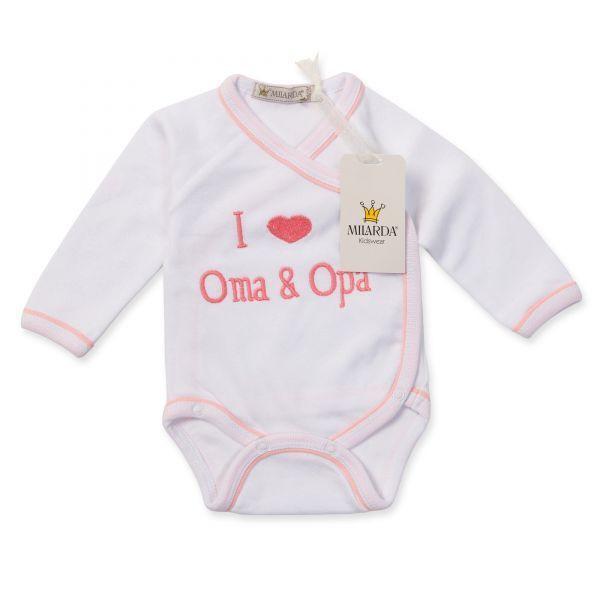 """Milarda Baby Body Wickelbody """"I love Oma & Opa"""", weiß-rosa, Gr. 50-74"""