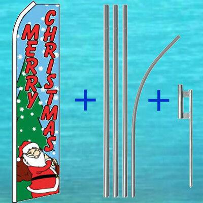 Merry Christmas Super Flutter Flag Pole Mount Kit Tall Feather Swooper Banner