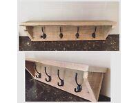 Pallet coat hook shelf reclaimed upcycled shabby chic rustic