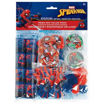 Spider Man Party Supplies (Spider-Man Webbed Wonder 48-Piece Mega Pack Birthday Party Favors)