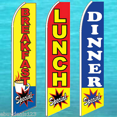 Breakfast Lunch Dinner Special 3 Flutter Flag Pole Kits Feather Swooper Banner