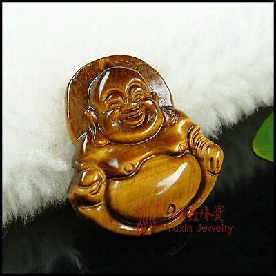 (Natural Tiger's Eye Stone Carved Buddha Bbead Statue Tibetan Pendant Amulet Gift)