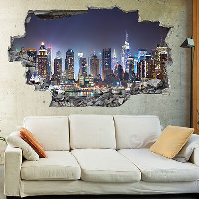 New York City Night Skyline 3D Art Wall Mural Photo Wallpaper Wall Stickers 1047
