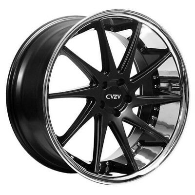 "Fit Bentley 22"" Staggered Azad Wheels AZ23 Semi Gloss Black w Chrome Popular"