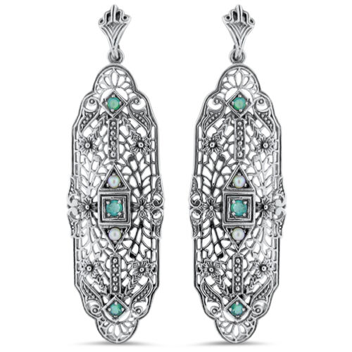 GENUINE EMERALD AND PEARL .925 STERLING SILVER ANTIQUE DESIGN EARRINGS,     #29