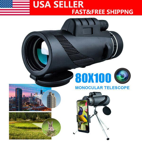 80x100 Day/Night HD Monocular Starscope Phone Camera Zoom Lense Telescope
