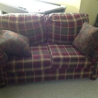 Plaid love seat